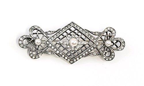 925er Silber Jugendstil-Brosche mit Swarovski-Steinen und Perlen Netz-Optik