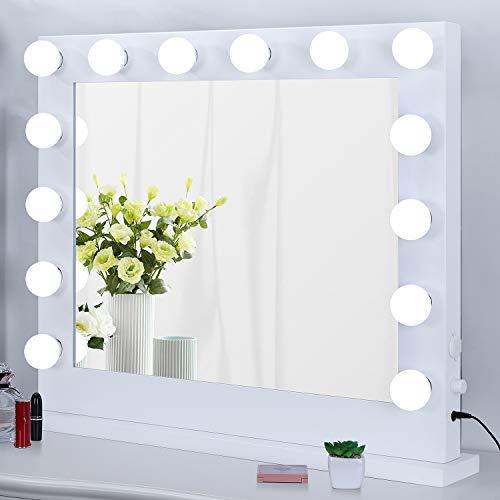 Meidom Schminkspiegel mit Licht, mit USB-Buchse, Dimmbar, Tisch oder Wandmontage, Groß Hollywood Spiegel mit Beleuchtung für Schlafzimmer, Kosmetikstudio, Weiß (83cmX67.5cm)