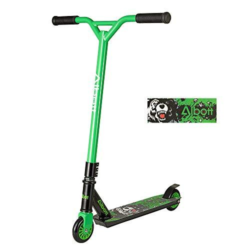 Albott Stunt Scooter Y-Form Freestyle-Tretroller mit rutschfestem, mattiertem Lenker und Aluminiumdecks Kick Scooter für Kinder und Erwachsene (Grün-Schwarz)