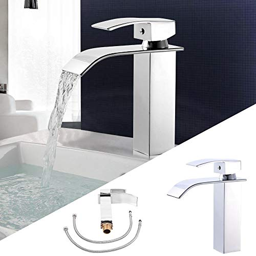 Y-M-H Cascada Faucet Fregadero WaterBasin Tap Acero Inoxidable Cromado para Baño