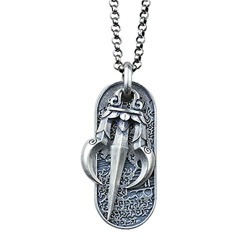 AMOZ Collar de Protección de Amuleto de Varita Vajra Dorje de Plata Esterlina para Hombre,Cadena de Plata de 27,6 Pulgadas