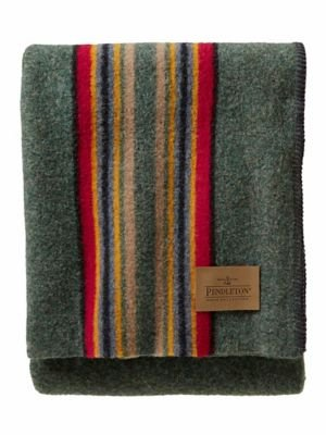 Pendleton Yakima Camp Wool Throw Blanket, Green Heather Mix, One Size