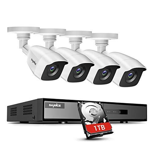 SANNCE Kit sistema di sorveglianza 8CH DVR 1080P 5-in-1 con 4 telecamere di sicurezza 1080P IP66 impermeabile IR-Cut LED accesso remoto - 1TB disco rigido