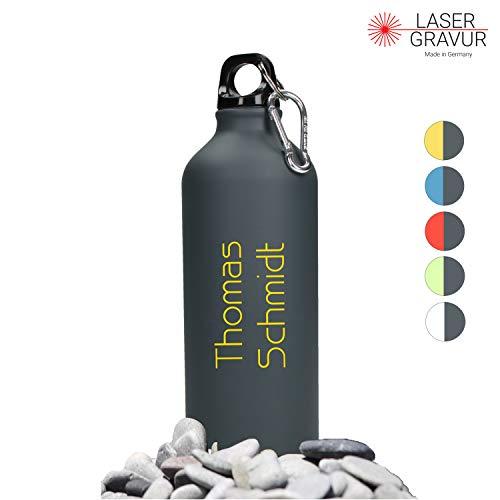 Personalisierte Trinkflasche mit Namen 0,6 L aus Aluminium Kohlensäuregeeignet inkl. Farbgravur - Auslaufsichere Wasserflasche BPA-Frei - Sportflasche mit Wunschgravur (Gungrey-Yellow)