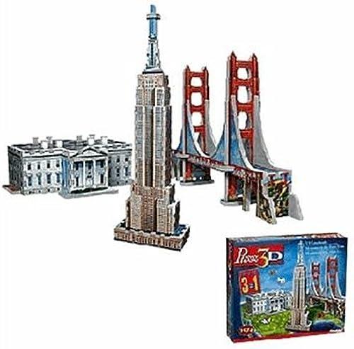 3D Tri-Pak Usa Landmarks Puzzle by Wrebbit