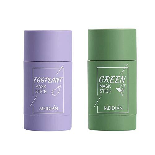 Green Tea Clay Mask,Mascarilla de Arcilla Purificadora de Té Verde, Mascarilla Sólida Control Aceite Berenjena, Mascarilla Exfoliante,Hidratante de Limpieza Profunda para Hombres y Mujeres