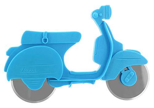 MIK Funshopping Pizzaschneider Motorroller Scooter mit 2 Edelstahl-Schneiderollen (Meerblau)