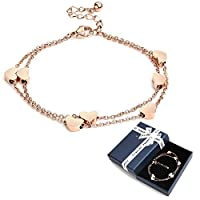 Crazy-m Rosegold Herzen Damen Armband Layered Armband mit Herz Anhängern Doppelt Kette Armband für Frauen Armkette Edelstahl Bracelet aus Titan