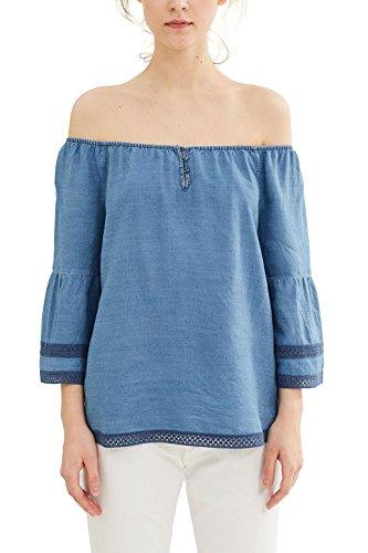 ESPRIT Damen 037EE1F005 Bluse, Blau (Grey Blue 420), 34