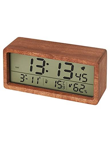 Reloj Despertador de Madera Maciza, Retro Pantalla Grande LED Temperatura portátil y Humedad Reloj de Escritorio Digital silencioso, en el Dormitorio, estudiar niños (Color : Light Brown)