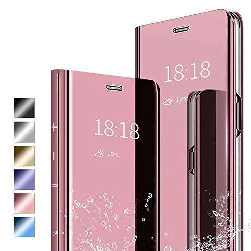 ANWEN Hülle für Samsung Galaxy A52 5G Handyhüllen,Flip Handy Hülle Cover PU+PC Schutzhülle Transluzent View Spiegel Anti-Schock Hülle mit Standfunktion für Samsung Galaxy A52 5G-Rotgold