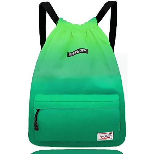 Waterproof Drawstring Bag, Gym Bag Sackpack Sports Backpack for Men Women Girls (51-green)