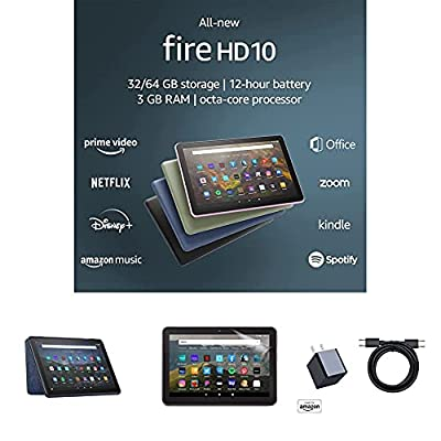 Fire HD 10 Tablet (32 GB, Denim, Ad-Supported) + Amazon Standing Case (Denim) + Nupro Anti-Glare Screen Protector (2-pack) + 15W USB-C Charger
