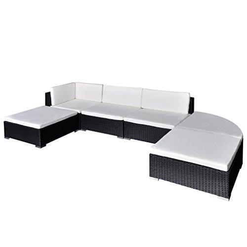 vidaXL Muebles de Jardín 16 Piezas Ratán PE Negro y Blanco Mobiliario...