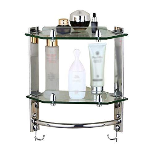 Handdoekenrek, hoekplank, badkamer, 7 mm dik glas, douchestang met gebogen randen en chromen steunen, 3 niveaus (grootte: 1 niveau) 2 tiers