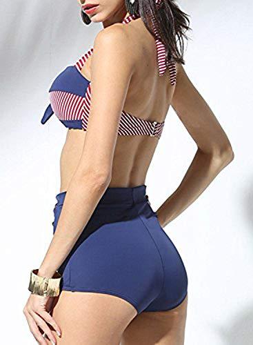 Doballa Damen 50er Retro Bademode Bikini Set Neckholder Push up hohe Taille Bauchweg Gestreift (S(EU36), Rot und Marine) - 3