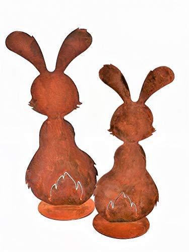 Rostikal Gartendeko Figuren Osterhasen 3er Set Rost Deko Frühling Osterdeko Vintage Shabby (Set)