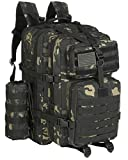 GZ XINXING 64L Large 3 day Molle Assault Pack Military Tactical Army Backpack Bug Out Bag Rucksack Daypack (Black Multicam)