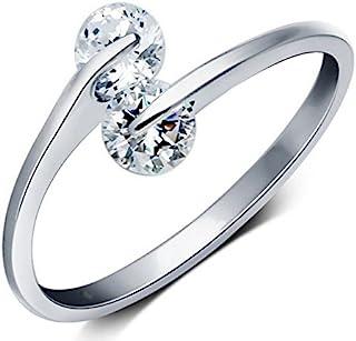 Karatcart Platinum Plated Elegant Austrian Crystal Adjustable Ring for Women