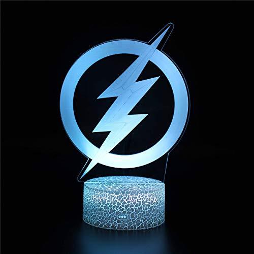 3D ilusión luz nocturna 3D lámpara de ilusión óptica Lightning B cargador USB, bonito juguetes geniales regalos Ideas cumpleaños vacaciones Navidad para bebé