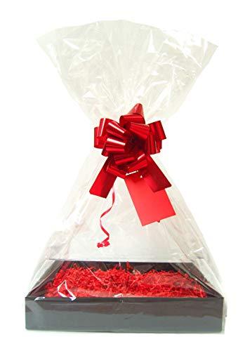 rode DIY cadeau mand belemmert Kit - zwarte kartonnen lade, rode papier, rode boog, cello tas & rode geschenklabel (Medium - 30cm x 20cm x 6cm hoog)