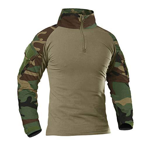 KEFITEVD Hommes Tactique Militaire Chemise Airsoft Combat T-Shirt Printemps Camouflage 1/4 Zip Shirt Jungle,M,Multicolore