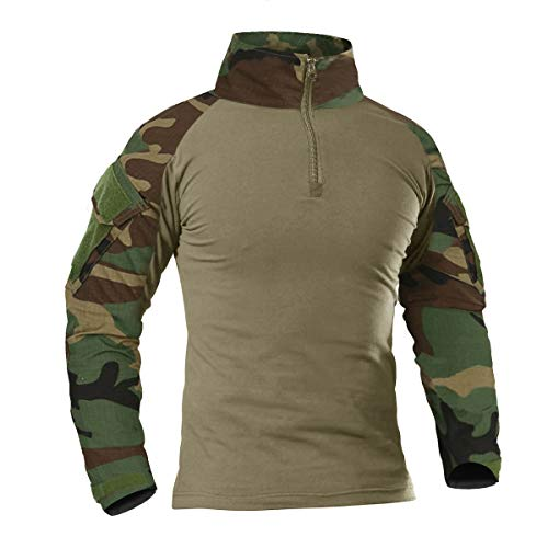 KEFITEVD Herren Combat Shirt Flecktarn US Army Shirt Military Uniform Multicam T-Shirt Bundeswehr Long Sleeve Stehkragen Kampfhemd Outdoor Hemd Männer Dschungel XL