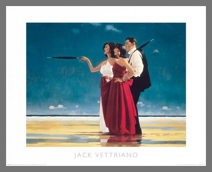 Germanposters Jack Vettriano The Missing Man I Poster Kunstdruck Bild mit Alu Rahmen in Champagne 46x56cm