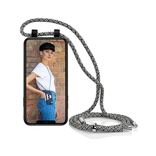 Artwizz HangOn Case geeignet für [iPhone SE (2020) / 8/7] - Elastische Schutzhülle aus TPU als Handykette zum Umhängen mit Band und Kartenfach - Schwarz