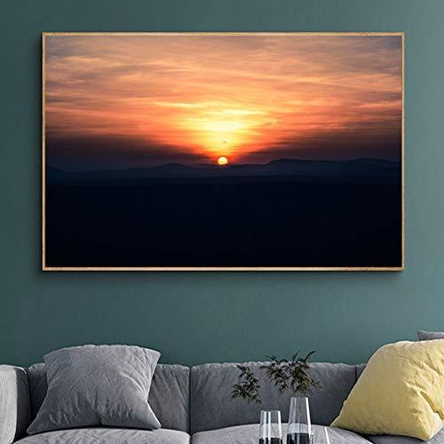 Amanecer paisaje lienzo pintura carteles e impresiones imágenes para decoración moderna de la sala de estar del hogar pintura 40x50cm