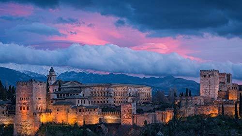 Alhambra Puzzle de 1000 Piezas para Adultos,Adolescentes Juego de Rompecabezas,Rompecabezas de Piso de Impresión de Alta Definición regalo Tamaño total: (H 50 cm x M/B 75 cm)