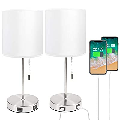 USB White Bedside Table Lamp Set, Seealle Nightstand Desk Lamp with White Fabric Lampshade,2 USB Fast Charging Port, Convenient Pull Chain for Bedroom,Living Room (Pack of 2)
