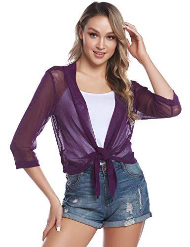 iClosam Damen Bolero Sommer Kurz Cardigan Strickjacke 3/4 Ärmel Elegant Blazer top. (Lila, L)