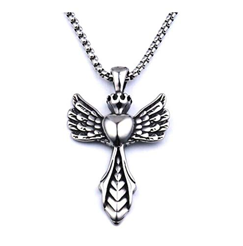 chenyou Pendant Vintage Korean Retro Wing Cross Necklace Men's Titanium Steel Alloy Pendant Necklace necklace (Metal Color : Silver)
