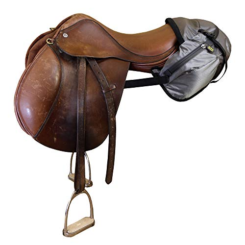 TrailMax English/Endurance Horse Saddle Bag for Trail-Riding, Featuring 3 Compartments & Quick Release Compression Straps, Pewter Gray