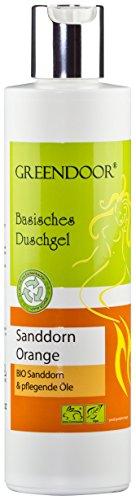 Greendoor Basisches Natur Duschgel Sanddorn Orange, 250ml, biologisch abbaubar, mit Bio Sanddorn, vegan, aus der Naturkosmetik Manufaktur, OHNE Sulfate Silikon Parabene, natural, outdoor geeignet