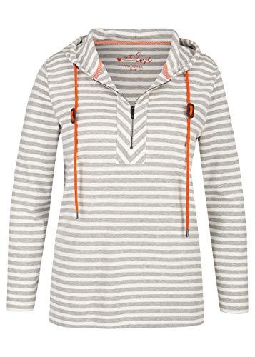 Via Appia Due Damen Geringeltes Kapuzen-Sweatshirt mit kontrastfarbigen Bändern