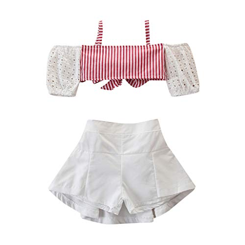 Moneycom❤Toddler Baby Girls Fashion Stripe Suspender Tops + Solid Shorts Outfits Vêtements Blanc(3-4 Ans)