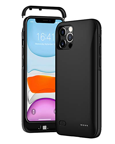 for iPhone 12 Pro Max Battery Case,Idealforce External Portable 5000mAh for iPhone 12 Pro Max Charger Case Support Wired Headset& Bluetooth Headset&Audio+Additional Lid-6.7 inch