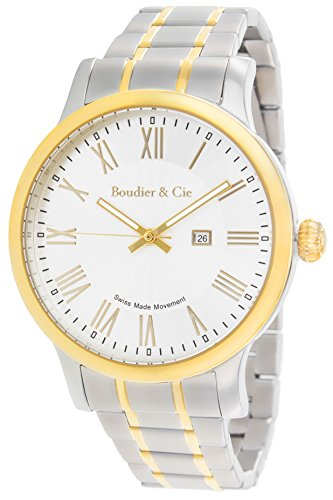 Boudier and Cie Quarz Uhr Armbanduhr für Männer Herren mit Original Schweizer Uhrwerk Analoger Anzeige und Edelstahl Armband in Silber Klassische Herrenuhr Männeruhr BSSM209