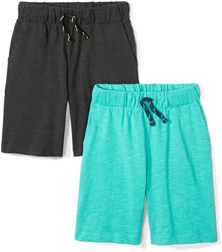Spotted Zebra Boys Toddler Knit Jersey Play Shorts 2 Pack Black Teal 4T product image