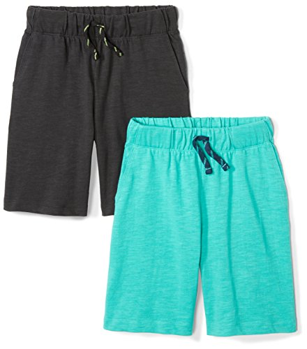 Spotted Zebra Boys' Kids Knit Jersey Play Shorts, 2-Pack Black/Teal, X-Small