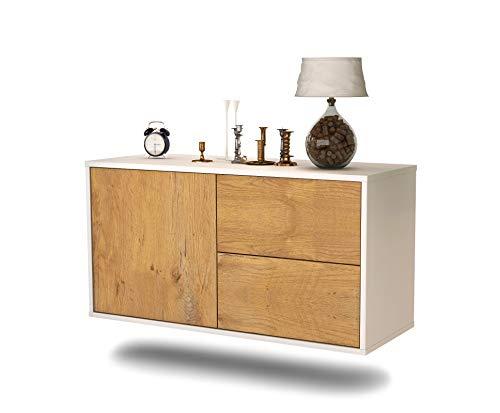 Lowboard Chicago hangend (92x47x35cm) corpus wit mat | front hout design eiken | Push-to-Open | hoogwaardige lichtlopende rails