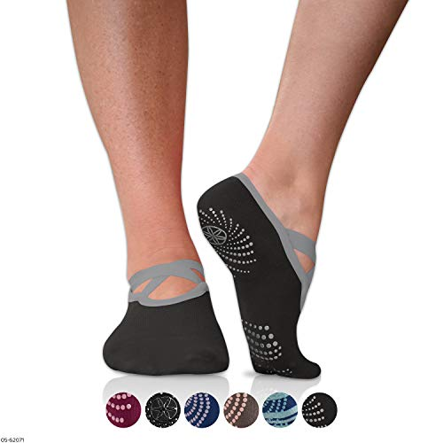 Gaiam Grippy Barre Socks for Extra Grip in Standard or Hot Yoga, Barre, Pilates, Ballet or at Home for Added Balance and Stability, Black/Grey