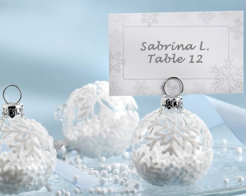 """Snow Flurry"" Flocked Glass Ornament Place Card/Photo Holder -Set of 36"