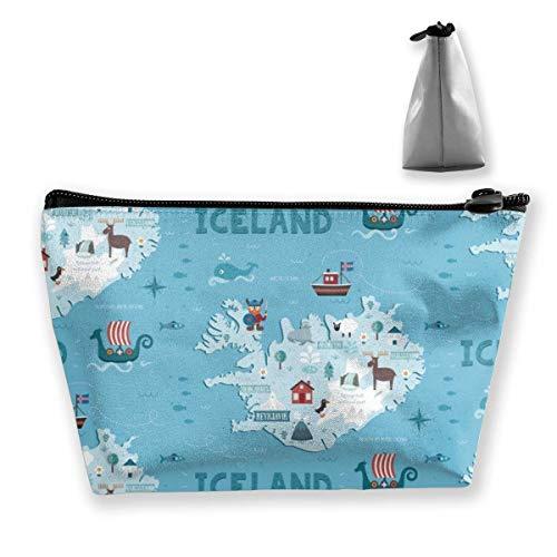 Leichte Mehrzweck-Reißverschluss-Trapez-Aufbewahrungstasche Organizer-Tasche Kleine kosmetische Schminktasche Münze Handy-Geldbörse Bleistift-Tasche (Island-Karte)