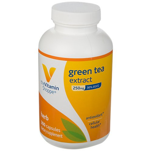 The Vitamin Shoppe Green Tea Extract 250MG (30 EGCG), Antioxidant Supplement That Supports Cellular Cardiovascular Health Weight Management, Fights Free Radicals (300 Capsules)