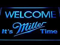 Miller Welcome It's Miller Time LED看板 ネオンサイン ライト 電飾 広告用標識 W40cm x H30cm ブルー