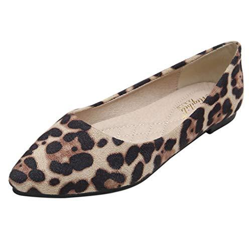 Huatime Schuhe Damen Ballerinas - Wohnungen Leopardenmuster Wildlederimitat Spitze Zehen Pumps Schlupf Weich Single Müßiggänger Komfort Laufen Arbeiten (Schuhe ist Kleiner)