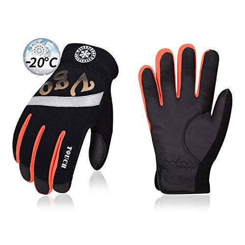 Vgo über -10℃, 3M Thinsulate C100, Winterarbeitshandschuhe, tiefkühl, PU-Palmen (1 Paar, 9/L, Schwarz mit Orange, PU8968FW)